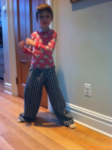 Happy Birthday Arthur! 7 yrs and still so stylish in his custom-made pants given by 13 yr olds Tessa and Ava!